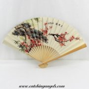 Paper Hand Held Folding Fan with Cherry Blossom Design