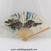 Hand Held Paper Foldable Fan with Chinese Landscape
