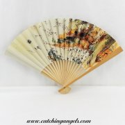 Paper Hand Held Folding Fan with Chinese Scenery