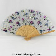 Folding Hand Held Fan Blue and Purple Floral Design