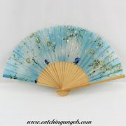 Folding Hand Held Silk Fan Blue and Gold Floral Design