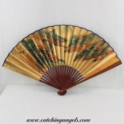 Hand Held Folding Gold Foil Paper Fan