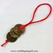Feng Shui 3 Chinese Coins and Red Envelope
