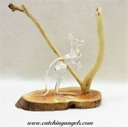 Blown Glass Kangaroo on Ghost Gum