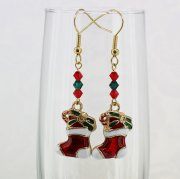 Red and White Christmas Stocking Earrings