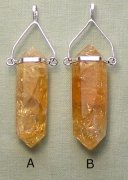 Citrine Point Pendant Silver Plated Bail