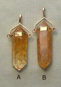 Citrine Point Pendant 925 Gold Plated Bail