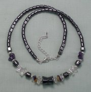 Hematite Amethyst Citrine and Clear Quartz Necklace