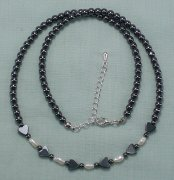 Hematite Hearts and Nugget Pearls Necklace