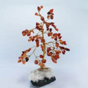 Carnelian 100 Gem Chip Tree on Chalcedony Calcite Base