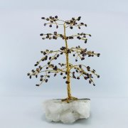 Garnet 160 Gem Chip Tree on Calcite Cluster Base