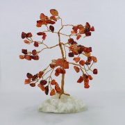 Carnelian 80 Gem Chip Tree on Calcite Cluster Base