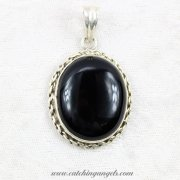 Black Onyx in Sterling Silver Pendant