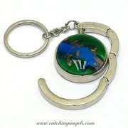 Blue & Green Lampwork Foldable Handbag Hanger with Keychain