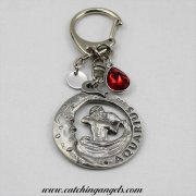 Aquarius Birthstone Keyring with Stamped Initial Disc