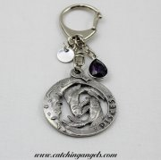 Pisces Birthstone Keyring with Stamped Initial Disc