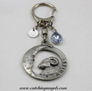 Aries Birthstone Keyring with Stamped Initial Disc