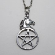Unicorn on Pentagram Necklace