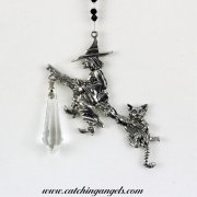 Witch and Cat on Broom Suncatcher