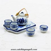 Dollhouse Miniature Tea Set Blue Floral Oriental Design