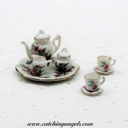 Miniature Porcelain Tea Set Floral Pink