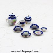 Dollhouse Miniature Porcelain Tea Set Floral Blue Rimmed