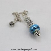 Black on Blue Ceramic Bead Pendulum