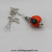 Orange and Green Lampwork Pendulum