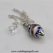 Blue Gold and White Striped Lampwork Pendulum