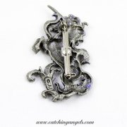 Unicorn Brooch Vintage Signed JJ Pewter