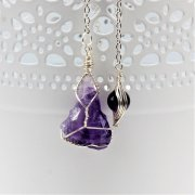 Raw Amethyst Wire Wrapped Pendulum