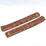 Wooden Incense Stick Holder Moon and Star Inlay Design
