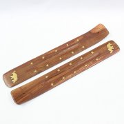 Wooden Incense Stick Holder Elephant Inlay Design