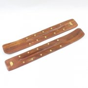 Wooden Incense Stick Holder Rising Sun Inlay Design