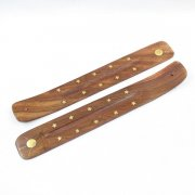 Wooden Incense Stick Holders Sun Inlay Design - 12Pk