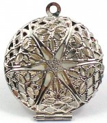 Round Filigree Wish Box Locket Pendant