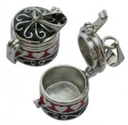 Barrel Shape Prayer Box Pendant - Silver Black & Red