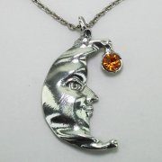 Crescent Moon Face Necklace with Crystal