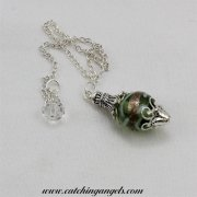 Green Gold & White Swirls Lampwork Pendulum