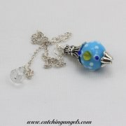 Blue Yellow and White Dots Lampwork Pendulum